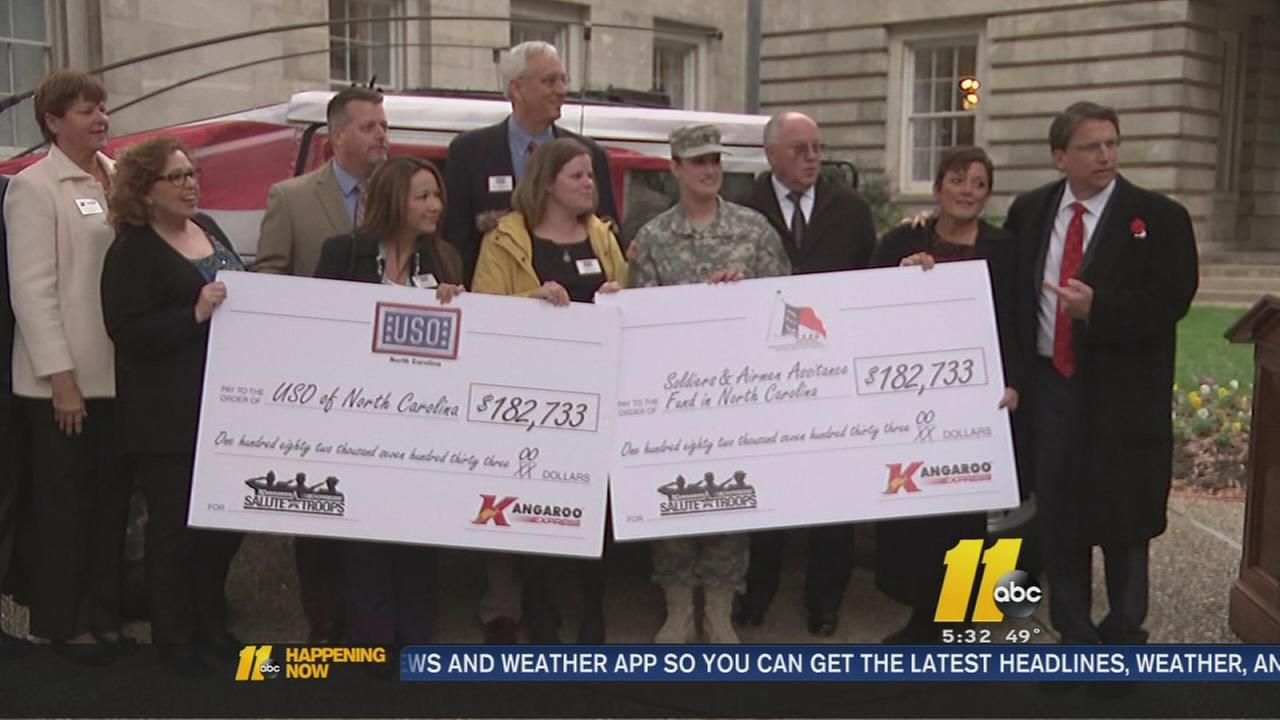 Kangaroo donates to North Carolina-based military support programs