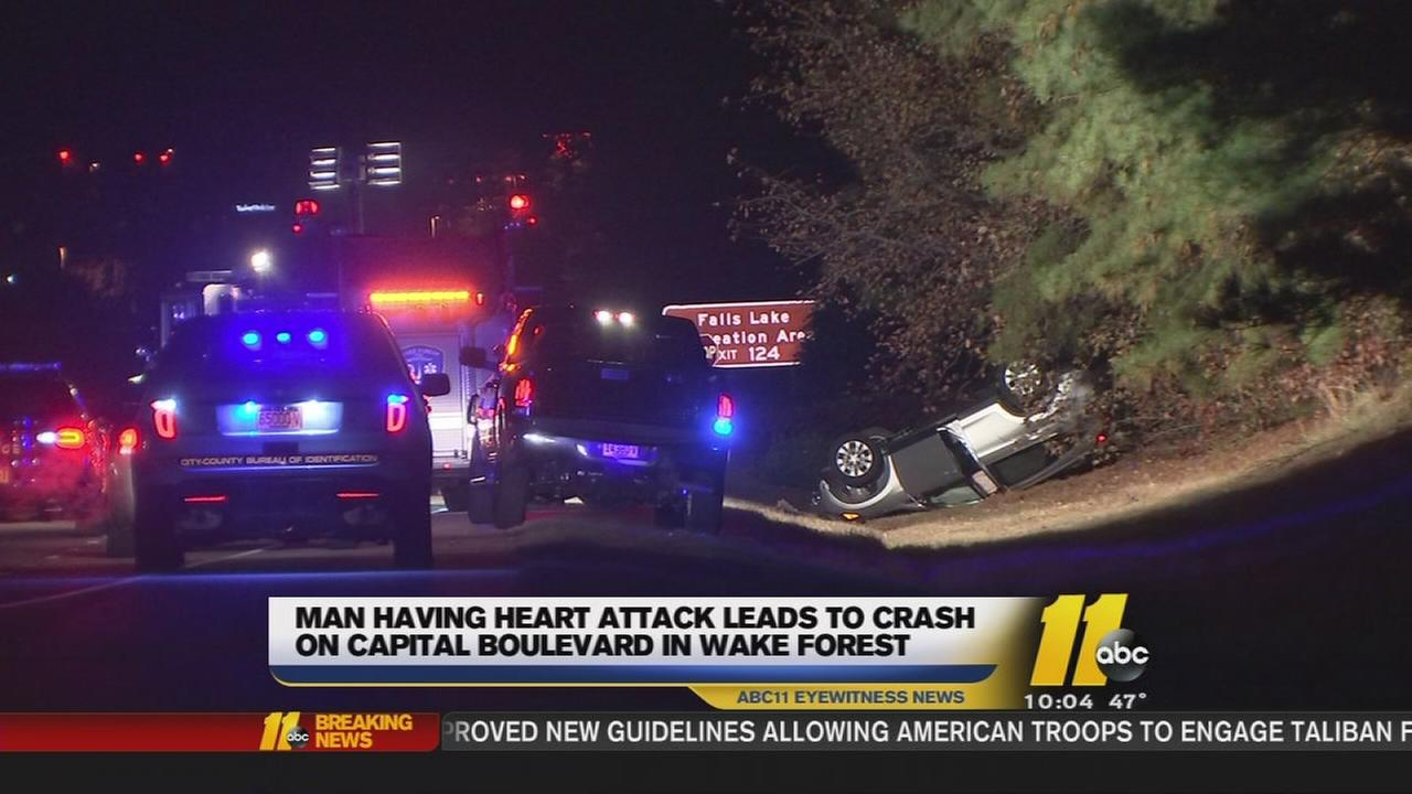 Man having heart attack leads to crash on Capital Boulevard
