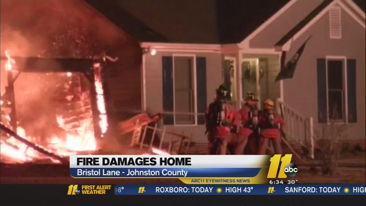 Johnston County home damaged by fire