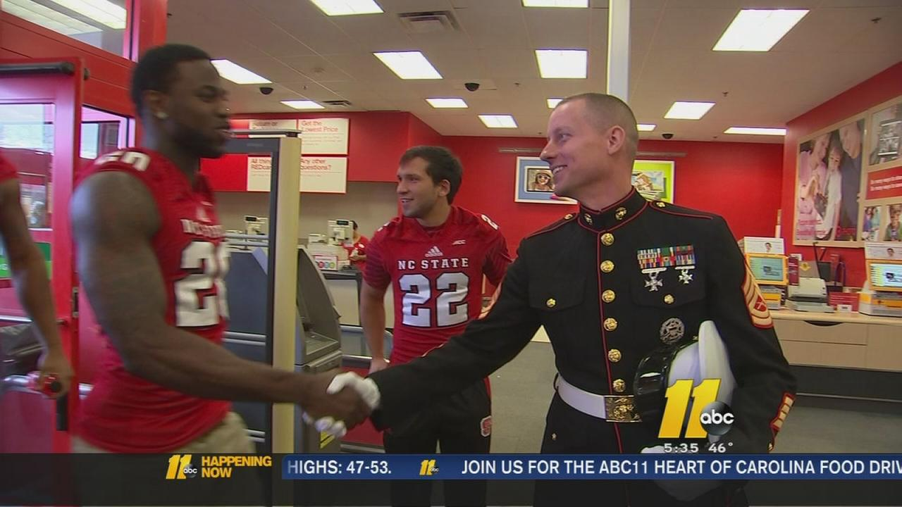 NCSU players Toys for Tots