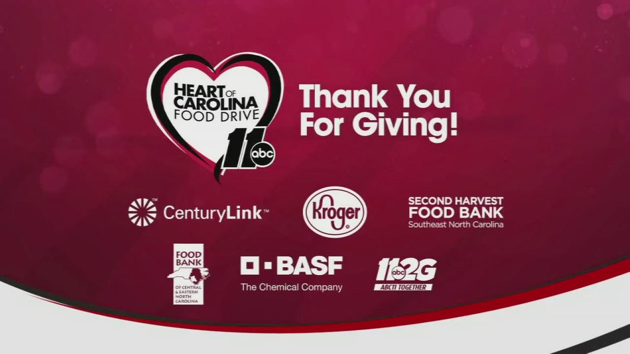 Thank you for giving to the Heart of Carolina food drive