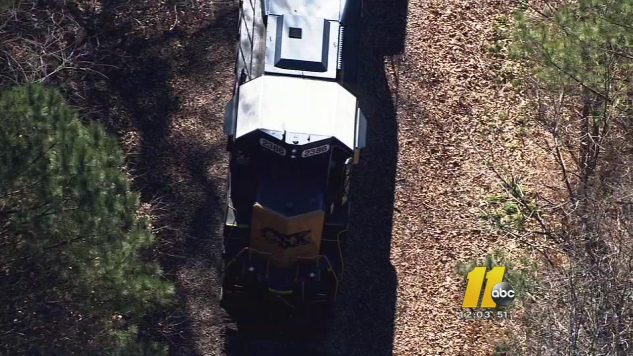 Train catches fire, blocks traffic in Wake Forest