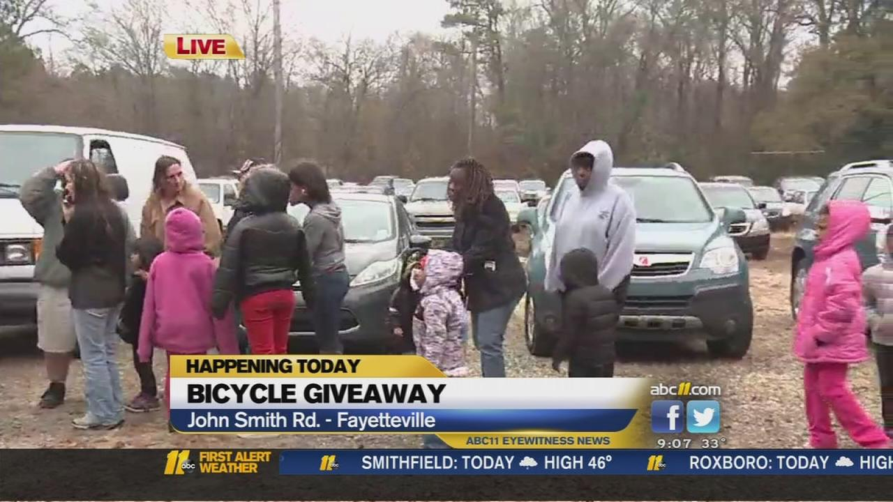 Bicycle giveaway in Fayetteville