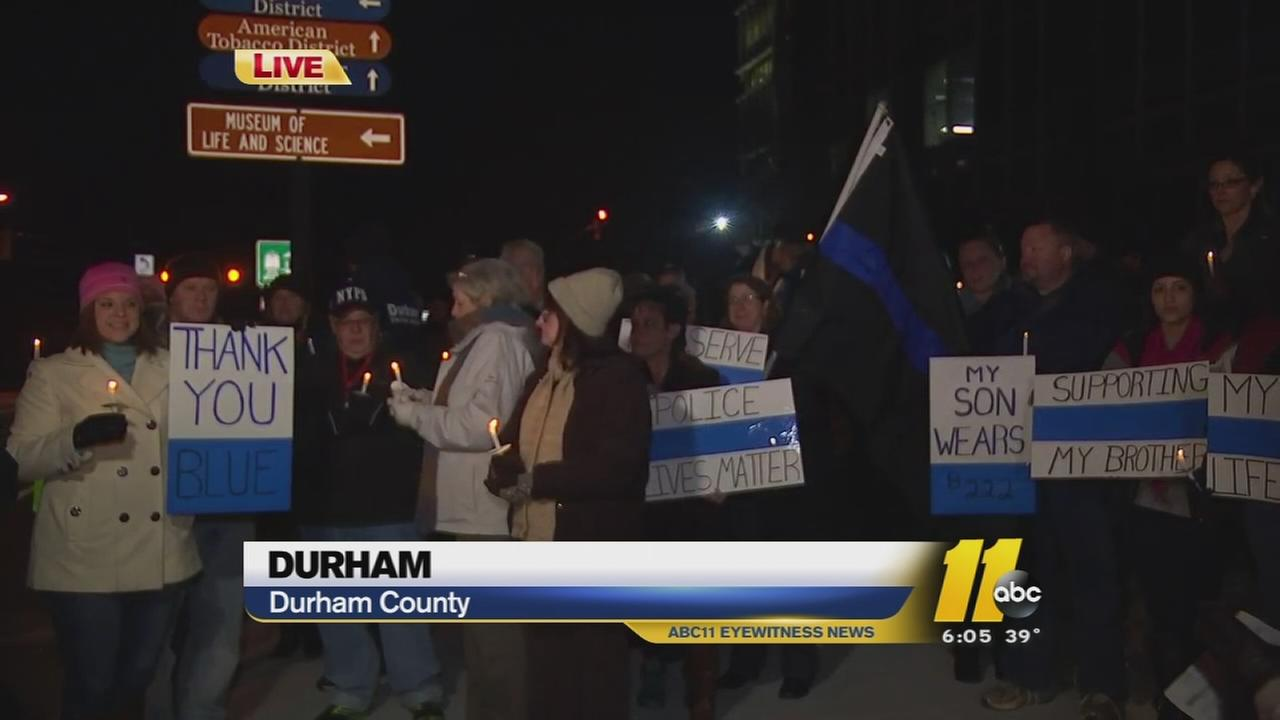 Local supporters of law enforcement gathered Friday