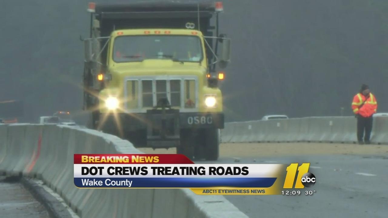 NCDOT crews treat roads in Wake County