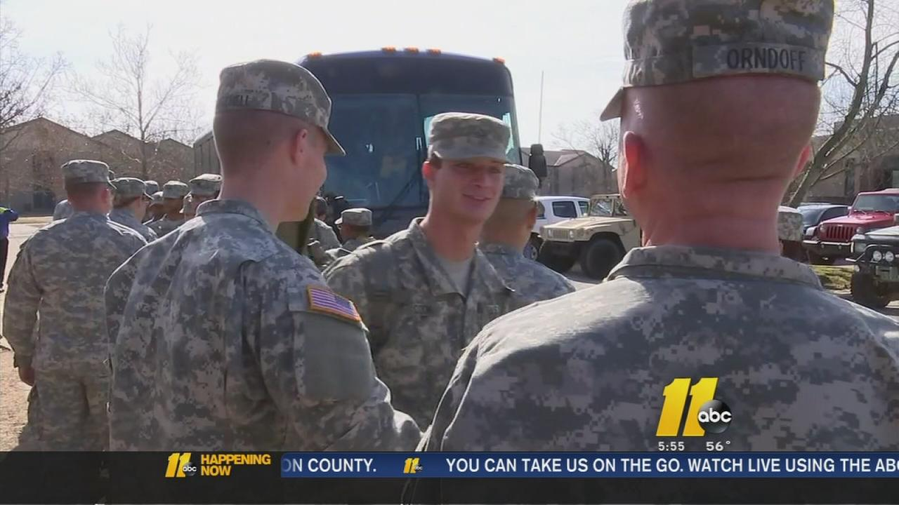 Fort Bragg soldiers returning from Ebola mission