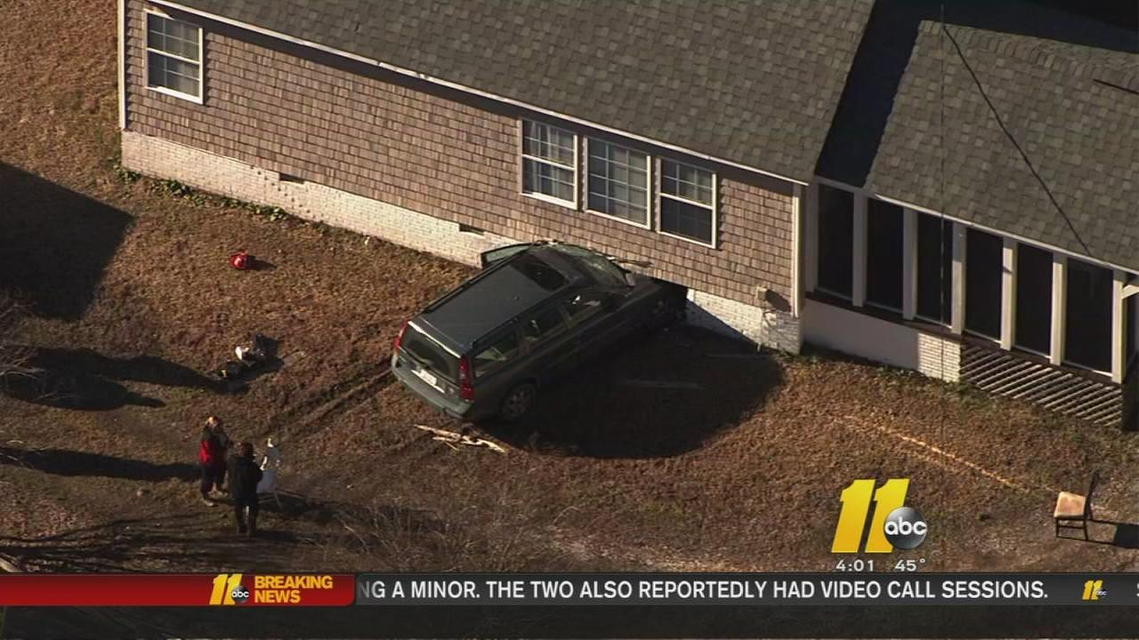 Car crashes into Wake County home