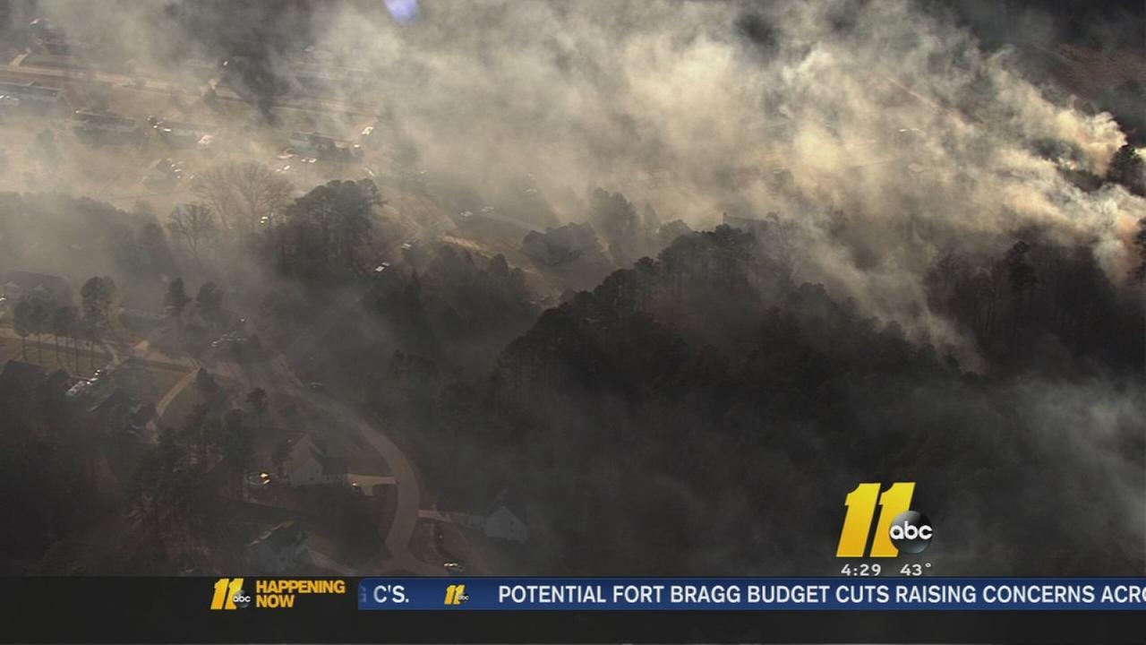 Crews battle large brush fire in Johnston County