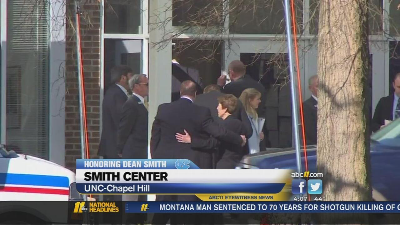 Large crowd shows up at private funeral for Dean Smith