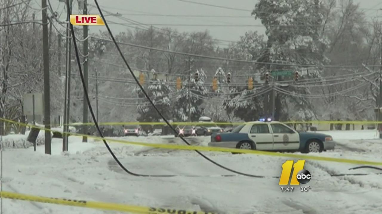 Power lines down in Raleigh