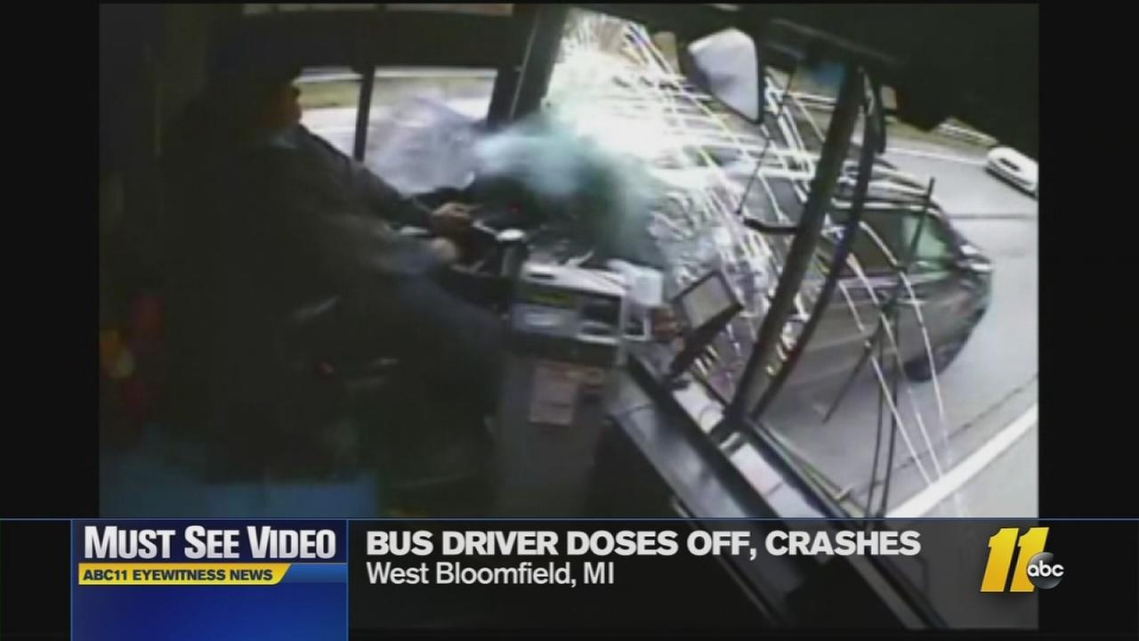Must-See Videos: Bus driver falls asleep, crashes