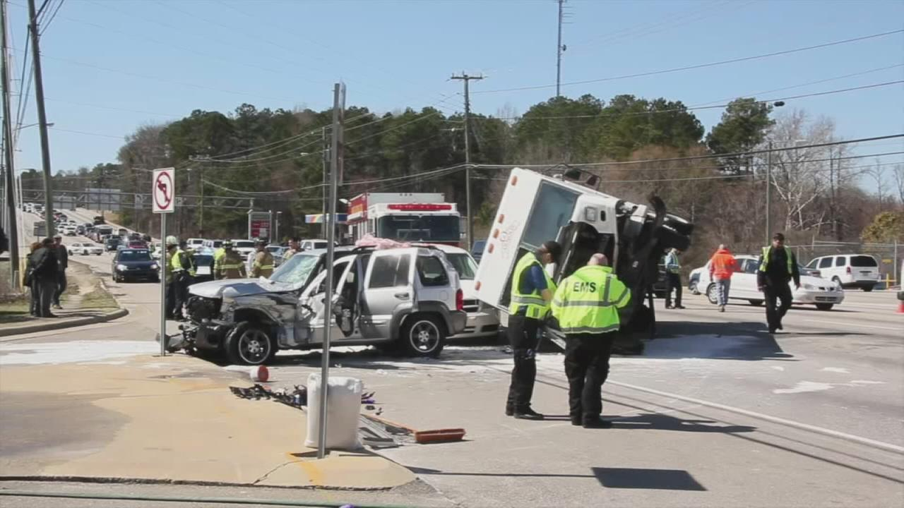 Raw Video: Multi-vehicle crash blocks busy Fayetteville road