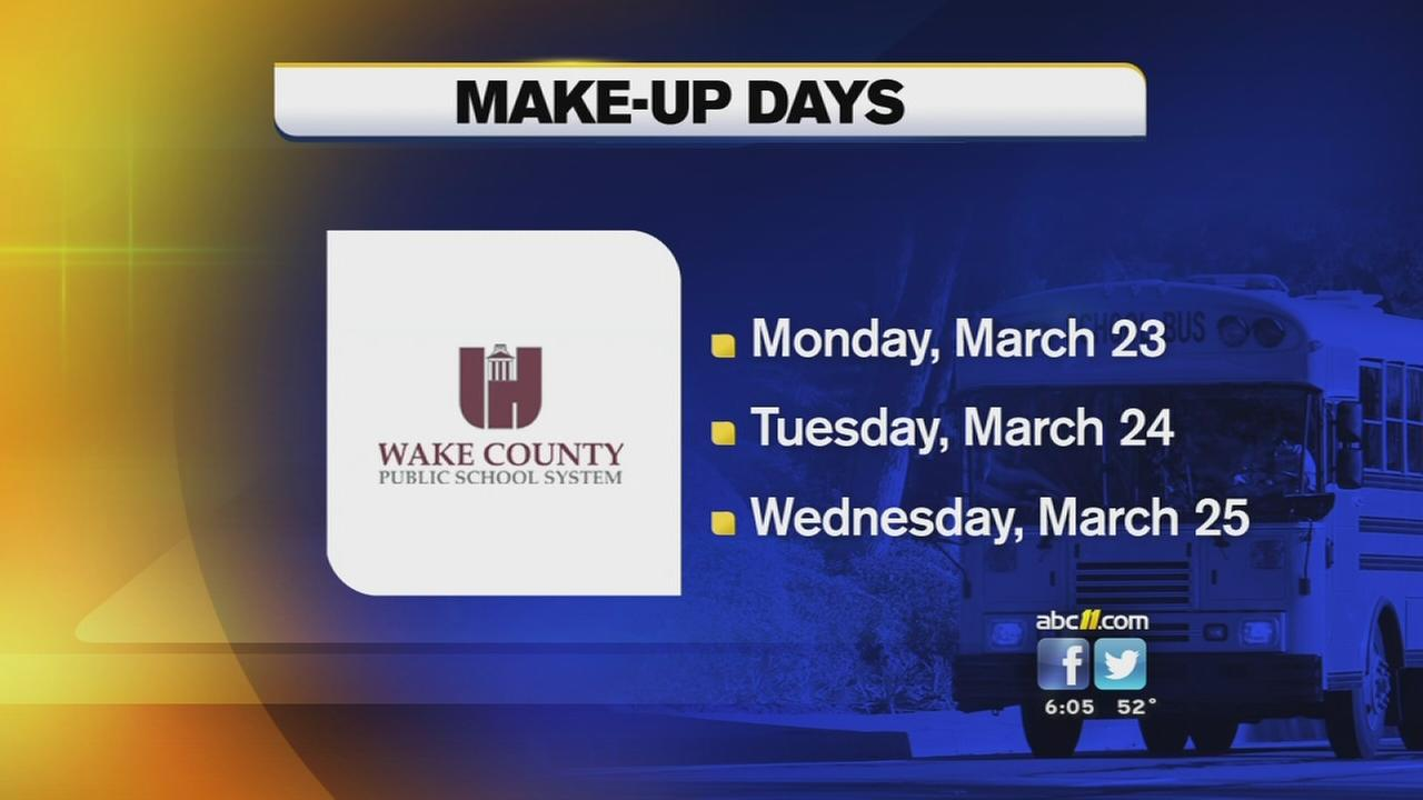 Wake county school makeup days