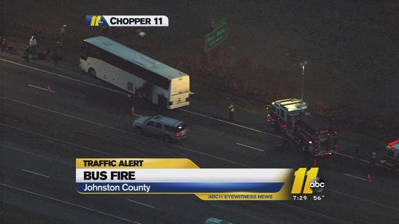 Bus fire closes part of Interstate 95