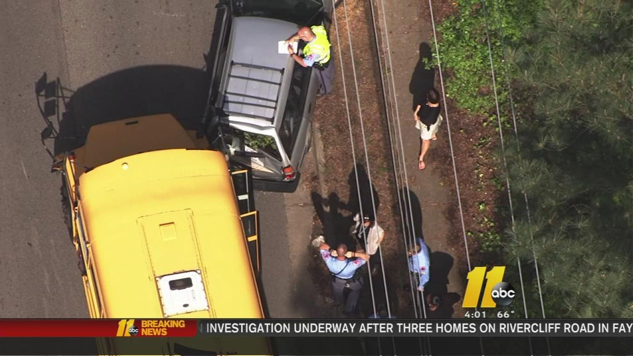 8 students taken to hospital after school bus crash in Raleigh