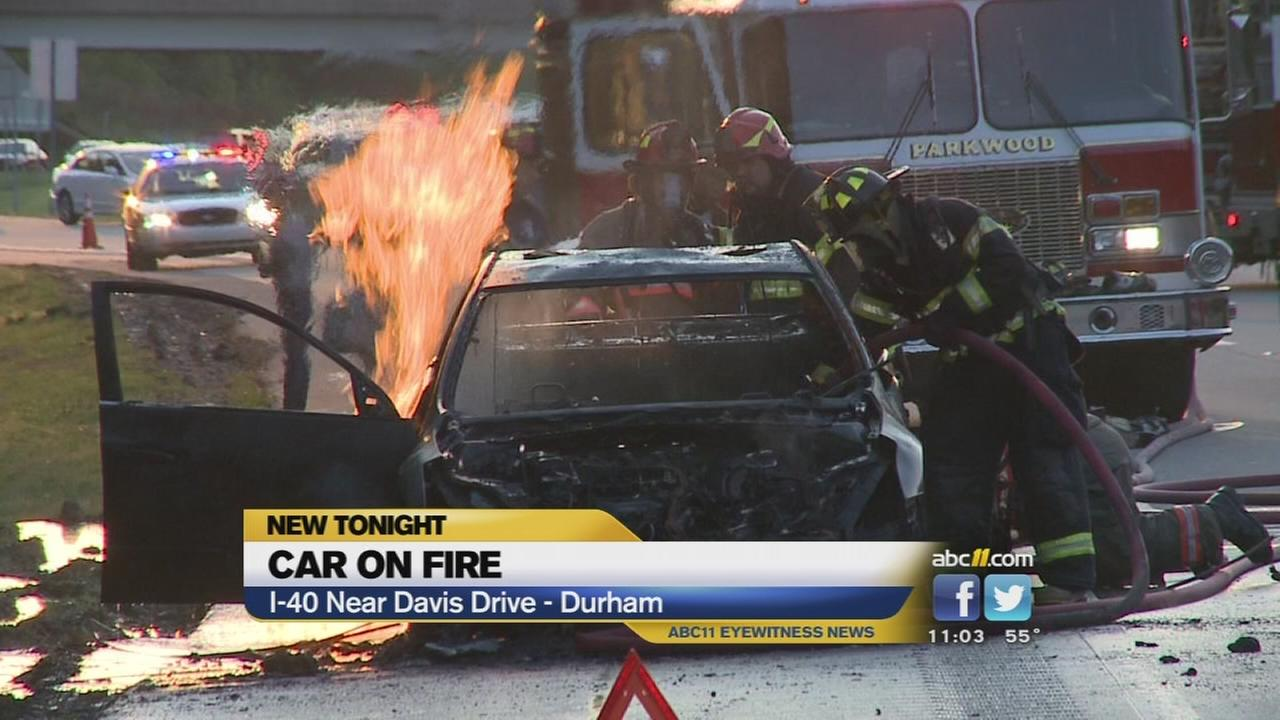 Crashes, car fire tie up traffic on Interstate 40