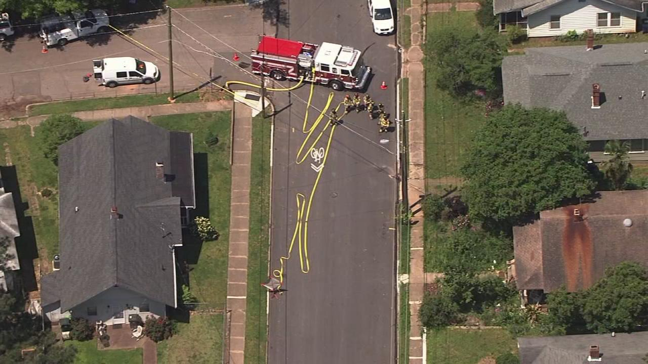 Firefighters on the scene of a gas leak in Raleigh