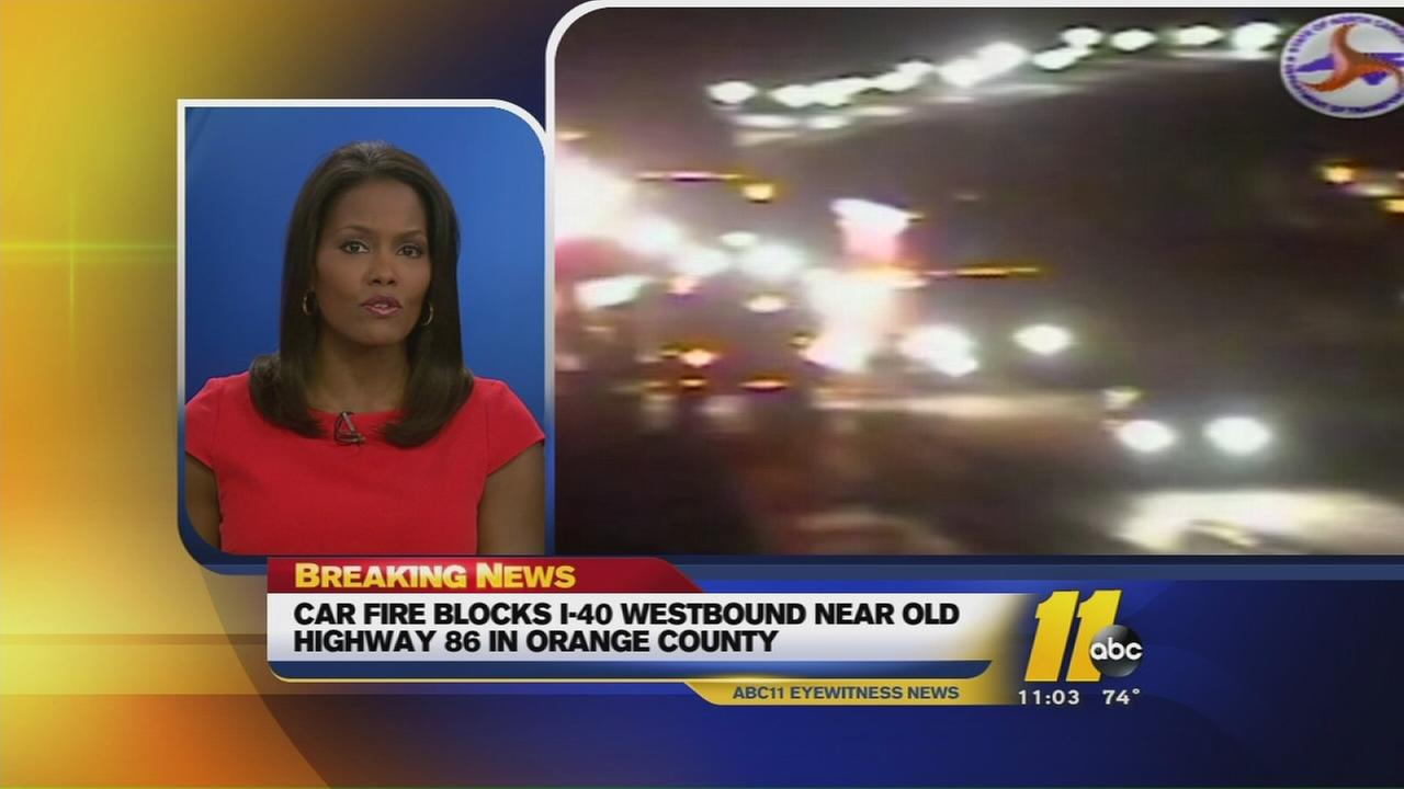 Car fire blocks I-40 West near Hillsborough