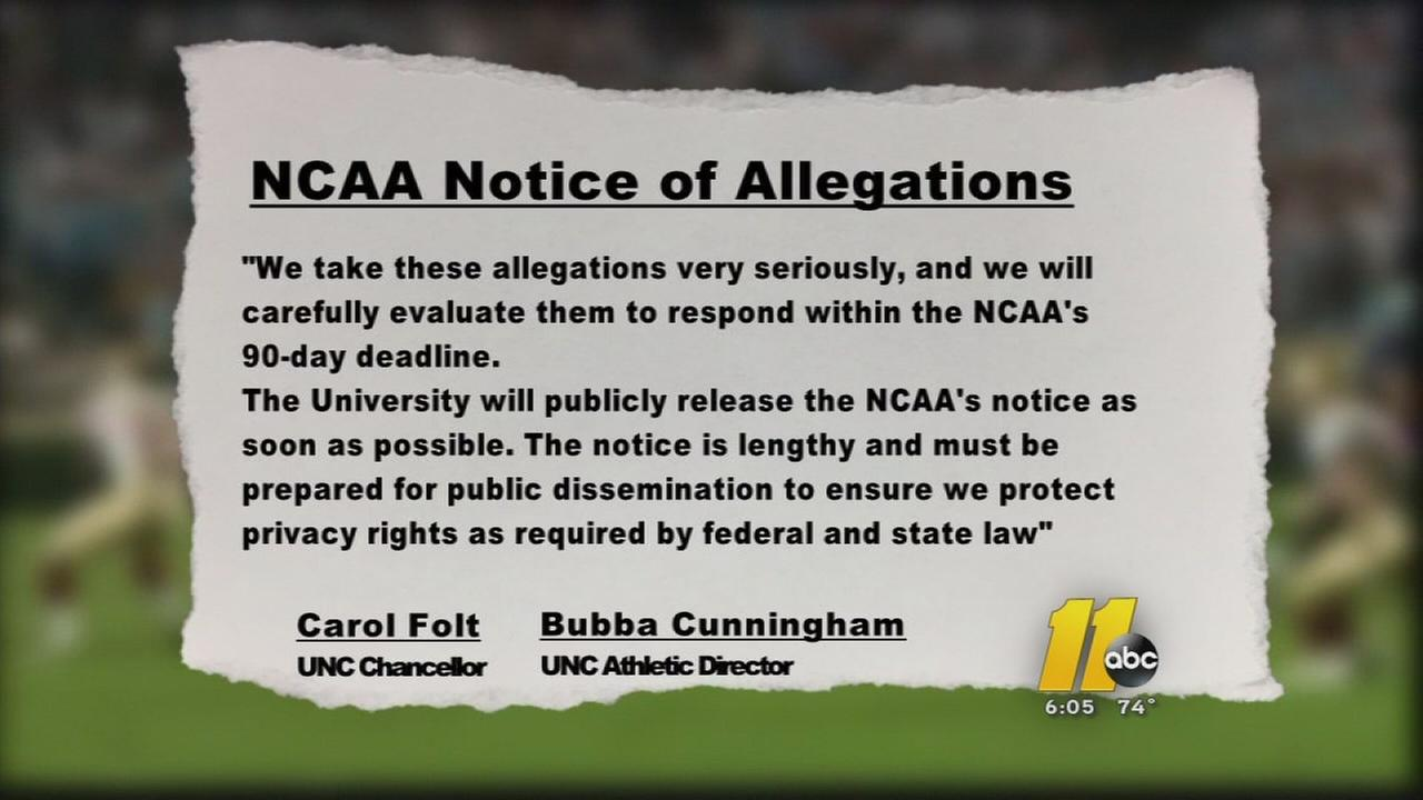 UNC received notice of allegations
