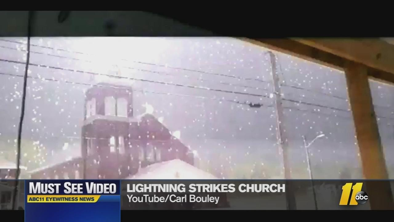 Must-See Videos: Lightning strikes church