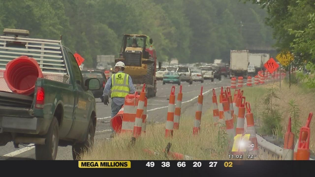 I-40 lanes shifting near Lake Wheeler Rd.