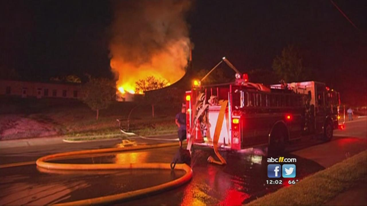 Firefighters battle raging church fire in Raleigh