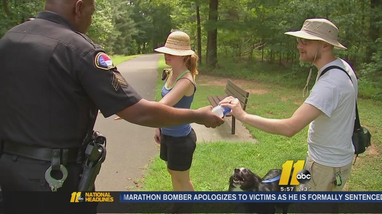 Wake Forest PD handing out water
