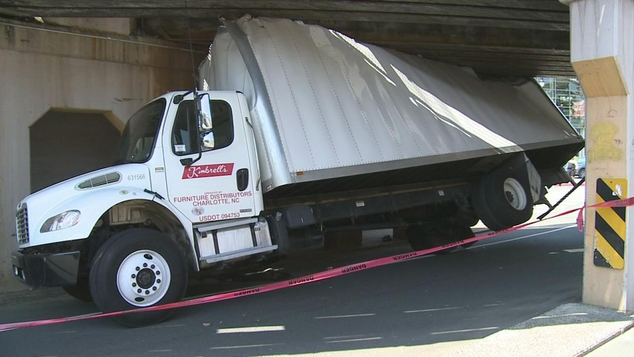 Truck wedged under Durham bridge