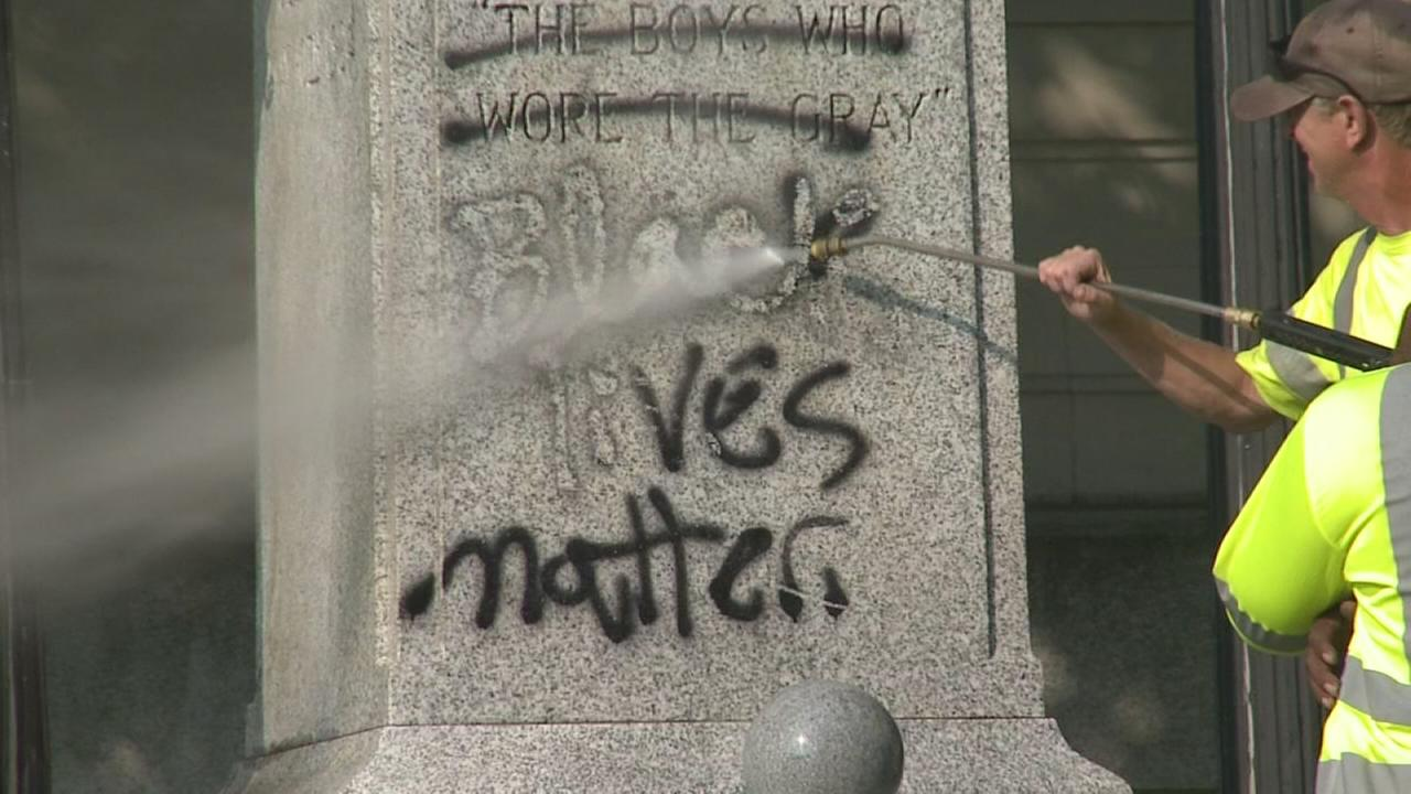 Confederate monument at Durham courthouse vandalized