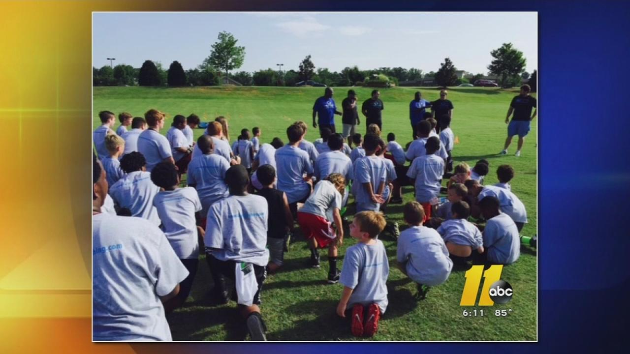 Football food drive camp in Cary