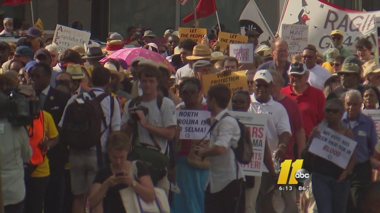 Moral Monday protesters in Winston-Salem this week.