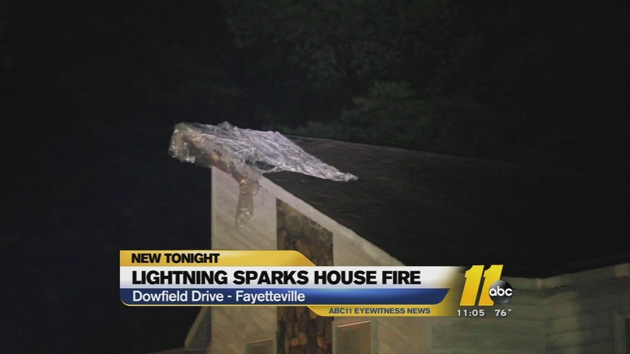 Lightning sparks fire