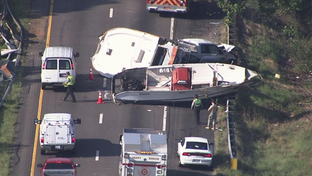 RAW VIDEO: Truck and boat crash on I-95