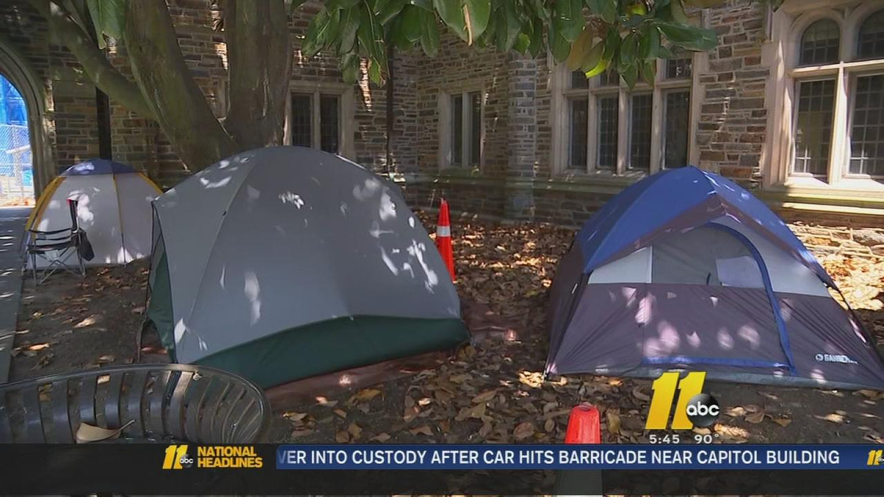 Couples camp out for Duke wedding