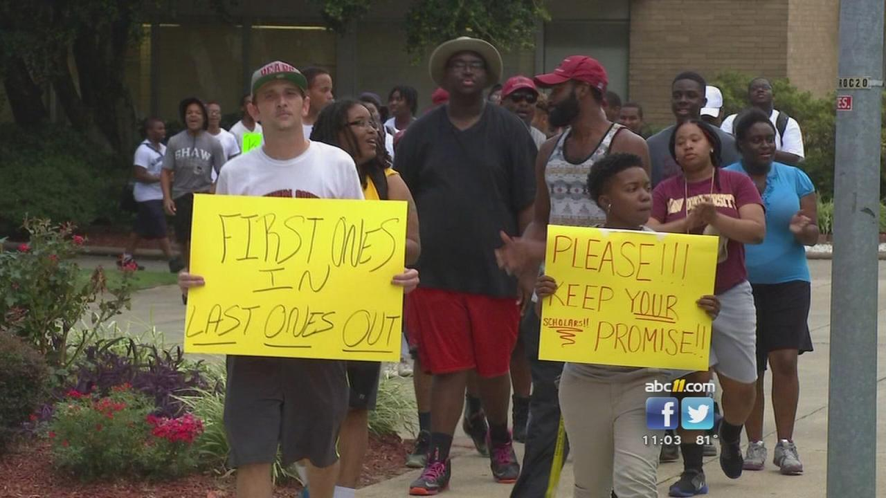 Students protest tuition changes at Shaw University