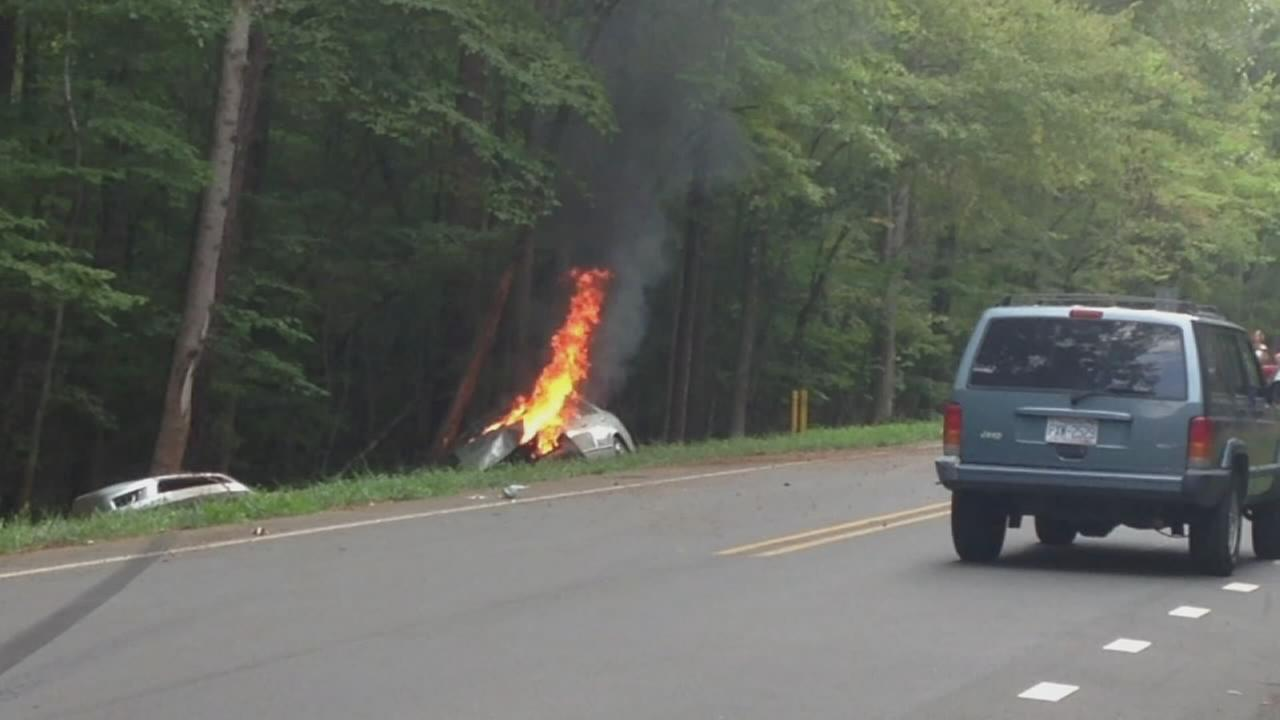 Car burns after crash