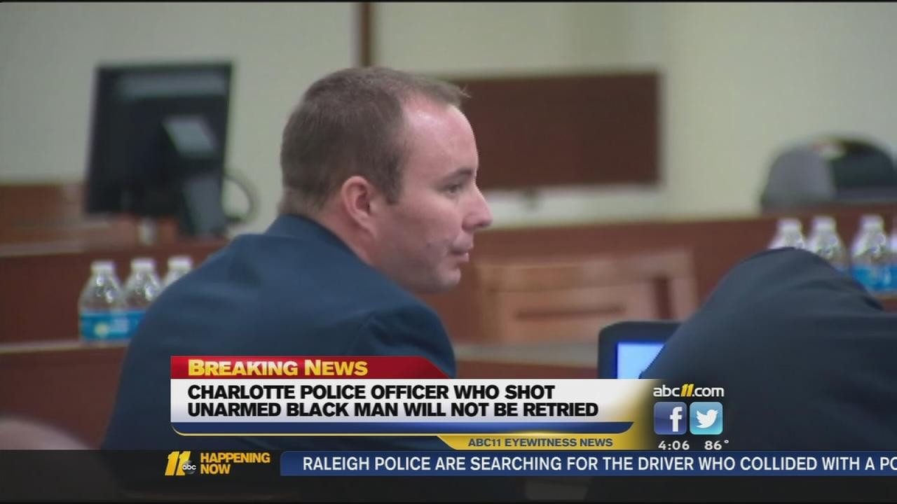 NC Attorney General: No 2nd trial for Charlotte officer