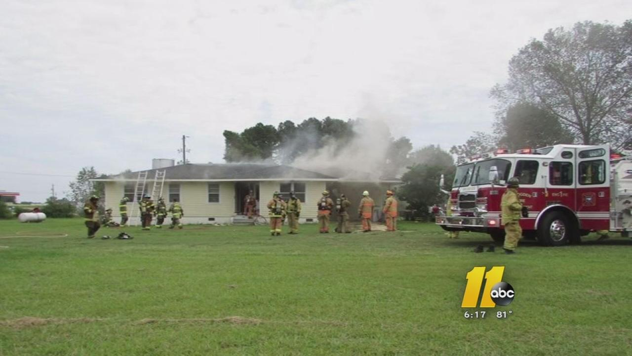 Fire displaces family in Johnston Co.