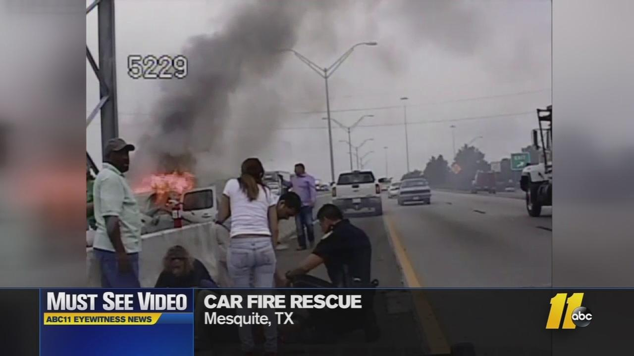 Must-see video: Burning car rescue