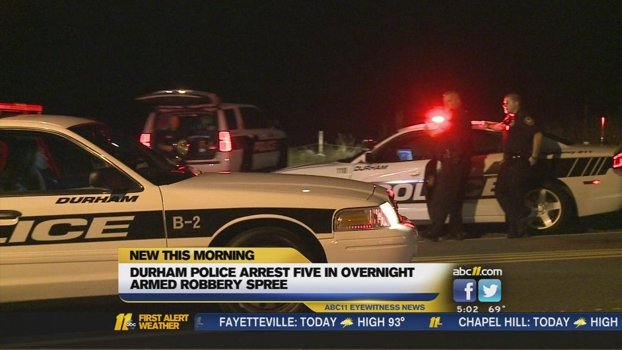 Durham people arrest 5 in robbery spree