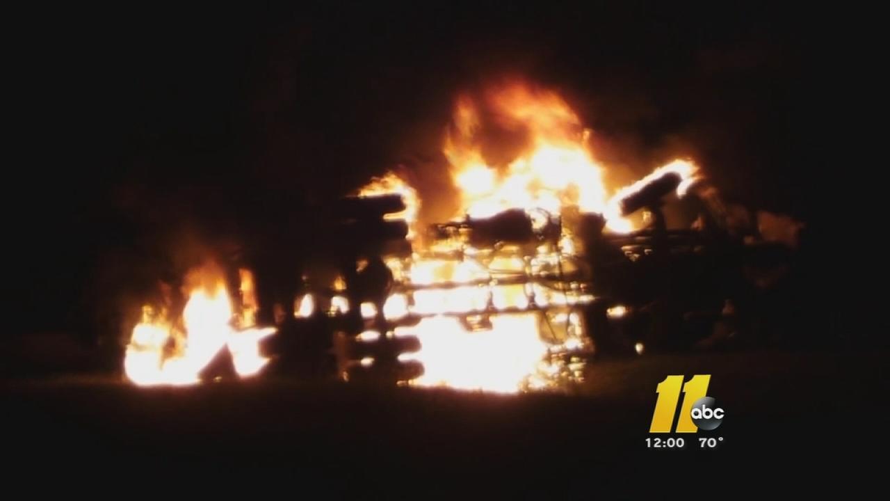 Truck driver dies in fiery wreck
