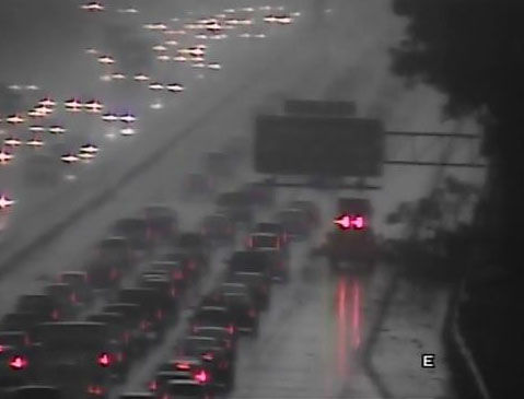 Thunderstorms dumped heavy rain and downed some trees in parts of central North Carolina Wednesday afternoon. I-40 eastbound blocked near Aviation Parkway. <span class=meta>WTVD</span>