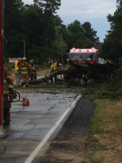 <div class='meta'><div class='origin-logo' data-origin='none'></div><span class='caption-text' data-credit='WTVD Photo/ I-Witness Photo'>Thunderstorms dumped heavy rain and downed some trees in parts of the central North Carolina Wednesday afternoon. This is Camden Road south of Hope Mills.</span></div>