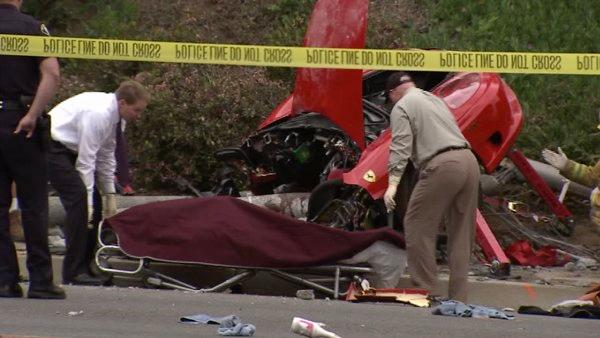 Scene of Ferrari crash in Orange County