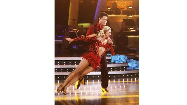 Donny Osmond and Kym Johnson dance the first round Monday night on 'Dancing With the Stars,' Monday, Nov