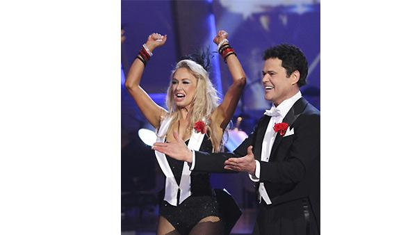 Donny Osmond and Kym Johnson dance the first round Monday night on 'Dancing With the Stars,' Monday, Nove