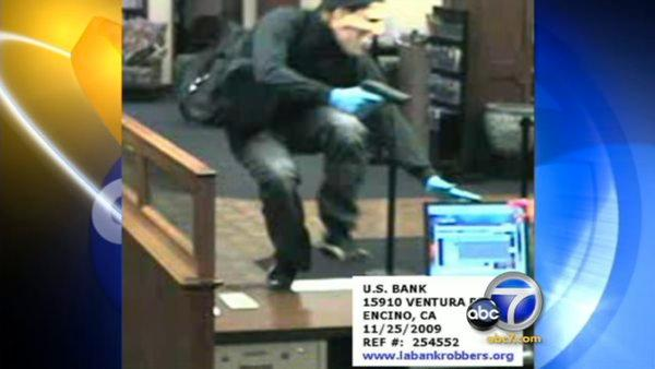 Nixon-masked robber holds up 2 L.A. banks
