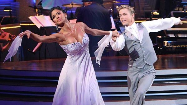 Lead singer of The Pussycat Dolls Nicole Scherzinger and partner Derek Hough perform the Viennese Waltz on the season premiere of 'Dancing With the Stars.'