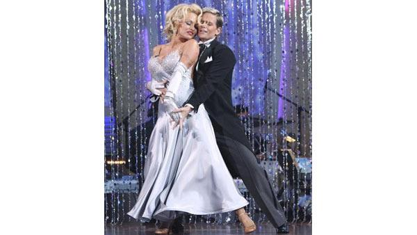 Pamela Anderson and Damian Whitewood perform on 'Dancing With the Stars,' Monday, March 29, 2010. The judges gave the couple 22 points out of 30.