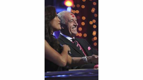 'Dancing With the Stars' judges Carrie Ann Inaba and Len Goodman, who was left with a lipstick mark on his head, courtesy of dancer Niecy Nash, on Monday April 19, 2010.